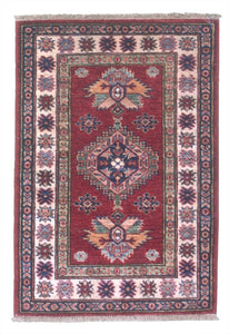 New Pakistan Hand-woven Antique Reproduction of a 19th Century Caucasian Kazak Rug   2'x 3'