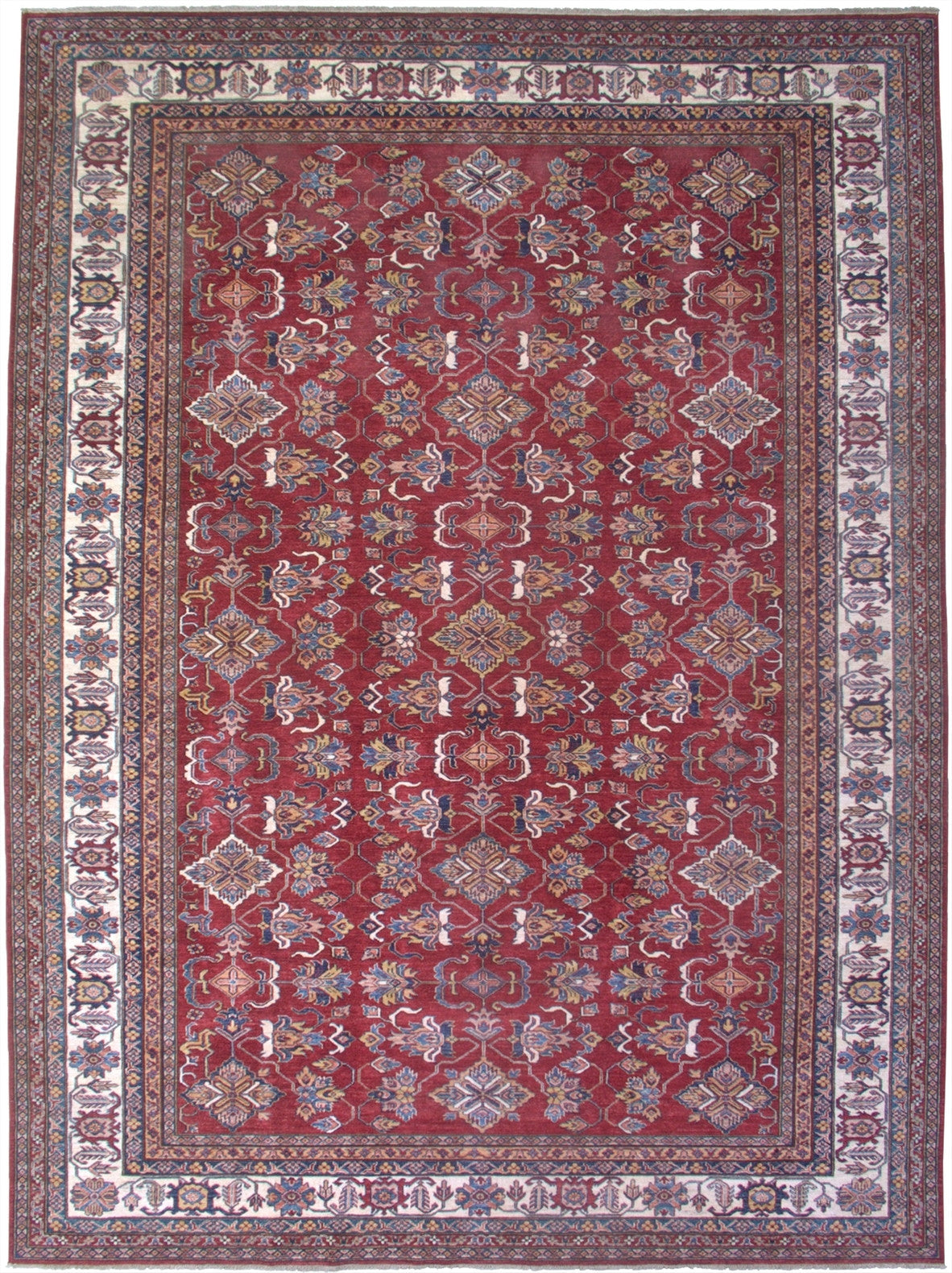 "New Pakistan Hand-woven Antique Reproduction of a 19th Century Caucasian Kazak Rug      9'9""x 13'5"""