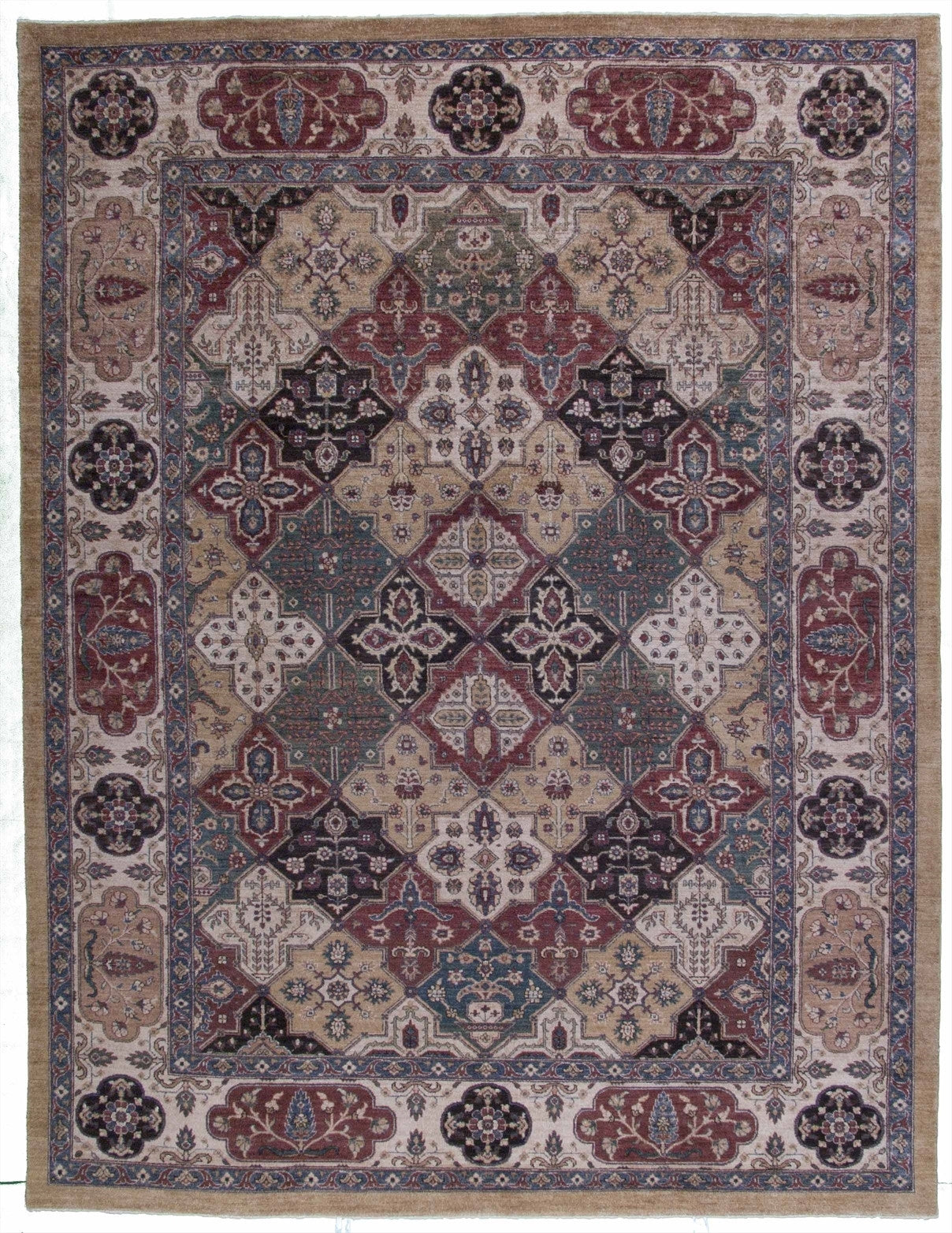 New Pakistan Hand-woven Antique Reproduction of a 19th Century Khorasan Carpet         9'x 11'9""