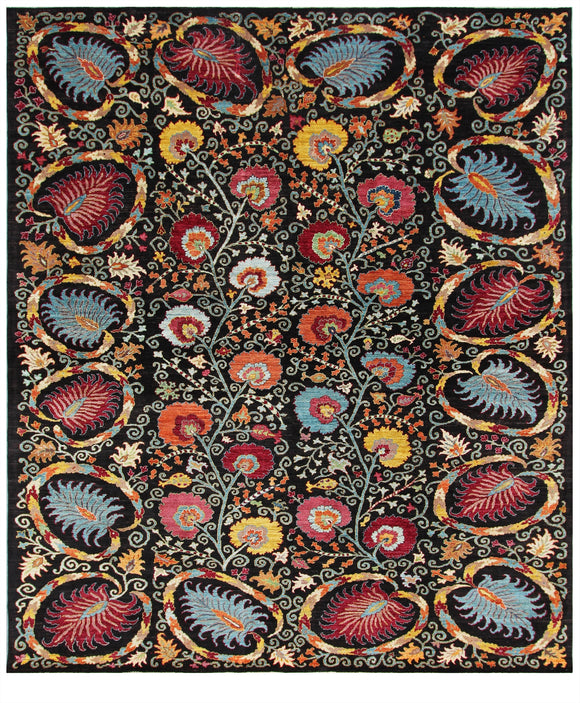 New Afghanistan Hand-Knotted Antique Recreation of 19 Century Uzbekistan Suzani   8'x 9'9
