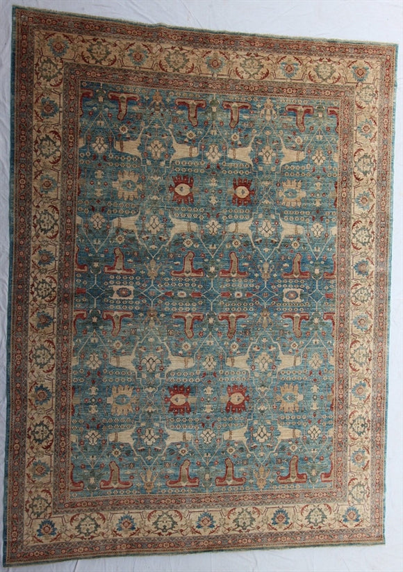 New Pakistan Hand-Knotted Antique Recreation Of 19th Century Persian Rug   10'1