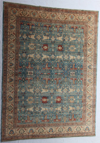 "New Pakistan Hand-Knotted Antique Recreation Of 19th Century Persian Rug   10'1""x 13'7"""