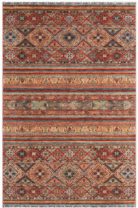 "New Pakistan Hand-Knotted Antique Recreation of 19th Century Samarkand Design   6'3""x 9'6"""