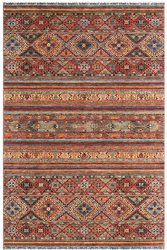 New Pakistan Hand-Knotted Antique Recreation of 19th Century Samarkand Design   6'3