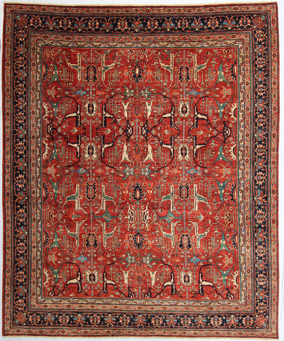 New Hand-knotted Antique Recreation from Afghanistan. 19th Century Persian Bijar Design.   9'6