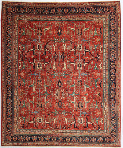 "New Hand-knotted Antique Recreation from Afghanistan. 19th Century Persian Bijar Design.   9'6""x 11'2"""