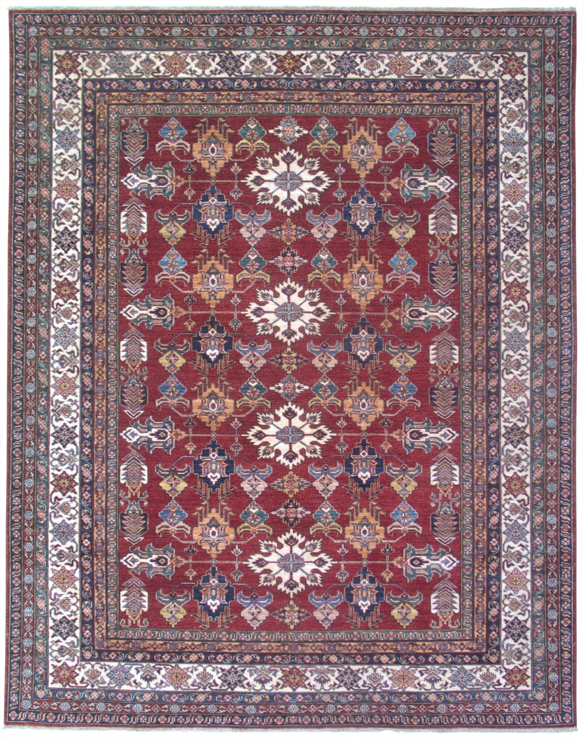 "New Pakistan Hand-woven Antique Reproduction of a 19th Century Caucasian Kazak Rug   8'1""x 10'1"""