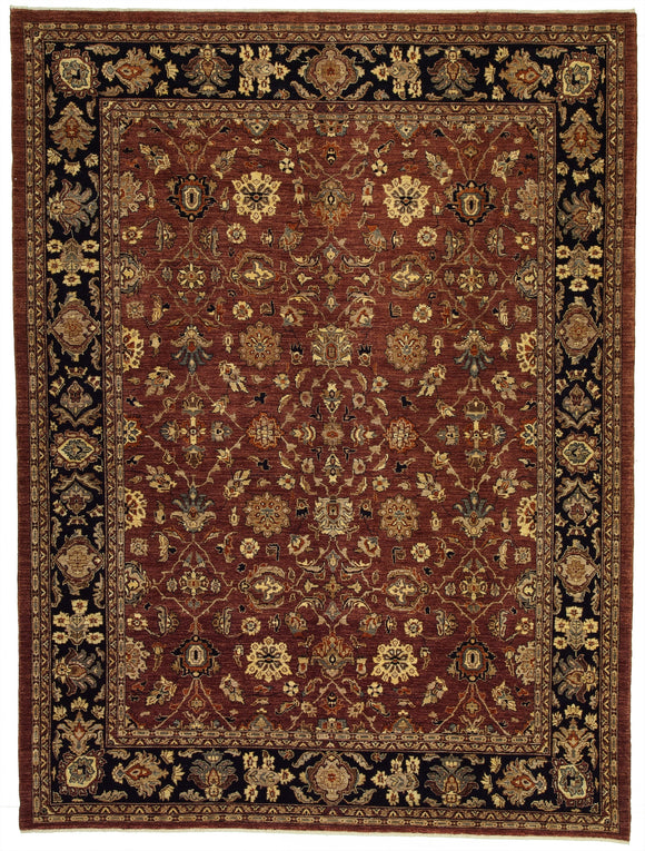 New Pakistan Hand-woven Antique Reproduction of a 19th Century Persian Carpet    9'1