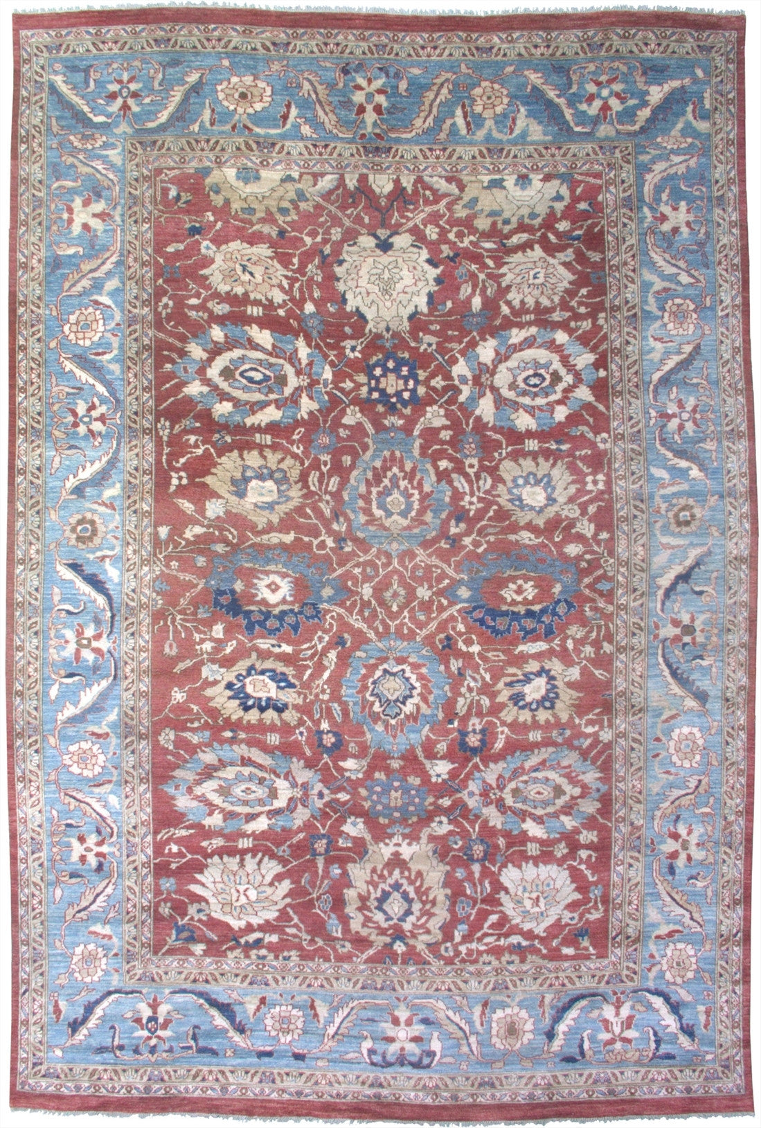 "New Pakistan Hand-woven Antique Reproduction of a 19th Century Persian Sultanabad Carpet   9'7""x 14'4"""