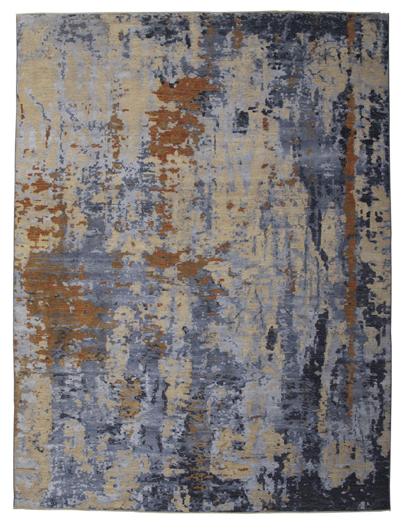 New Pakistan Hand-Knotted Abstract Modern Contemporary Oriental Carpet  11'7
