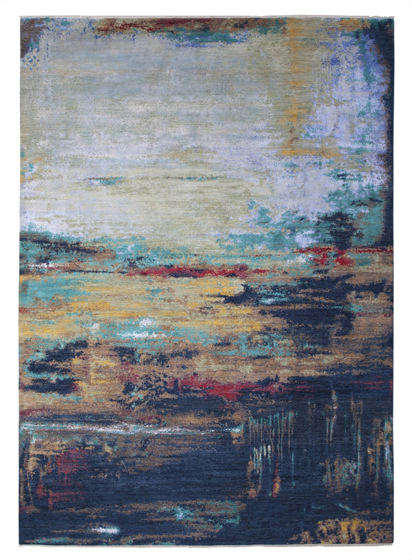 New Pakistan Hand-Knotted Modern Abstract Contemporary Carpet  10'x 14'1