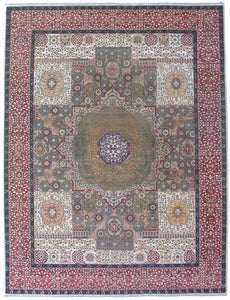 "New Pakistan Hand-woven Antique Reproduction of an Egyptian Mamluk Carpet    9'2""x 12'"