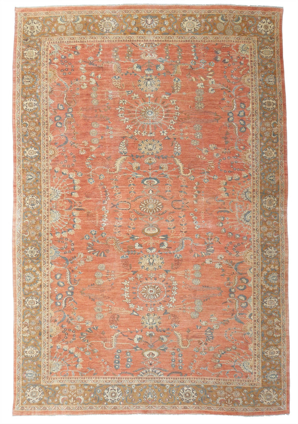 New Pakistan Hand-woven Antique Reproduction of a 19th Century Persian Sultanabad Carpet   11'5
