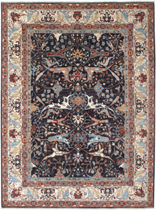 "New Afghanistan Hand-knotted Antique Recreation of a 19th Century Persian Village Carpet   9'1""x 12'1"""