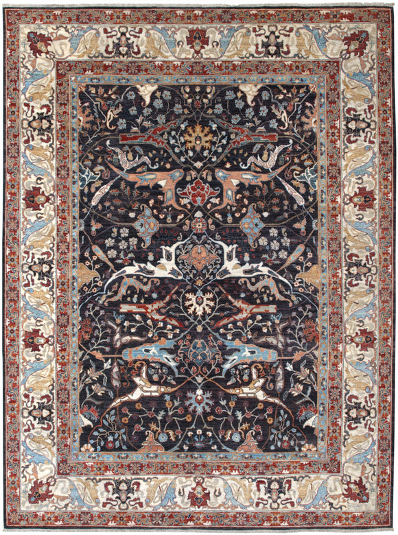 New Afghanistan Hand-knotted Antique Recreation of a 19th Century Persian Village Carpet   9'1