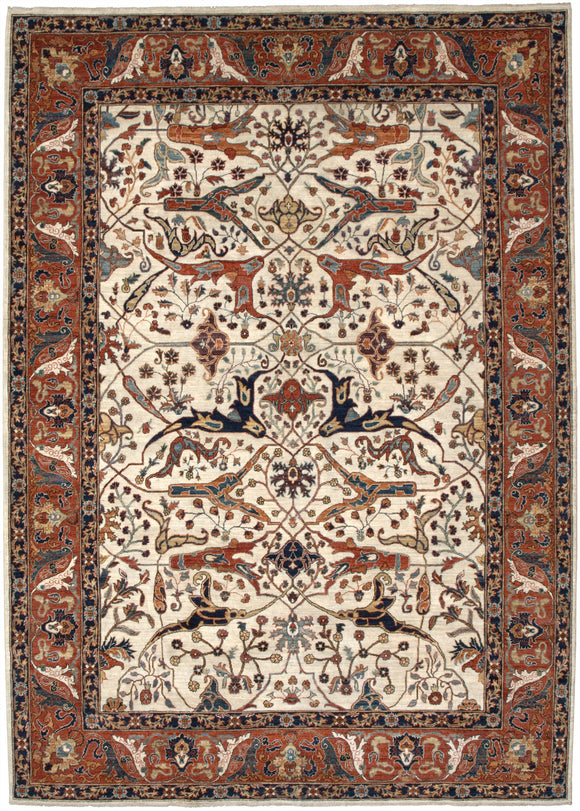 New Pakistan Hand-woven Antique Reproduction of a 19th Century Persian Garrus Bijar Rug   8'7