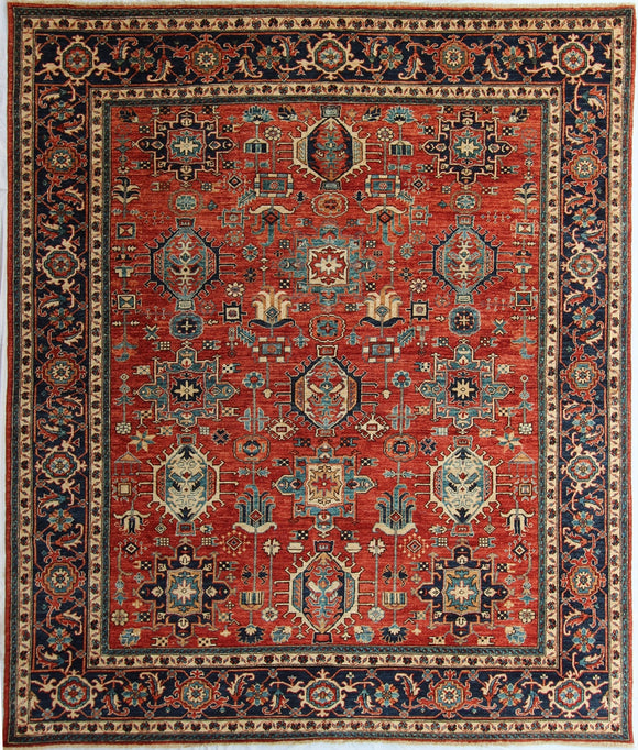 New Pakistan Hand-Knotted Antique Recreation of a Persian Karajeh Design   8'2