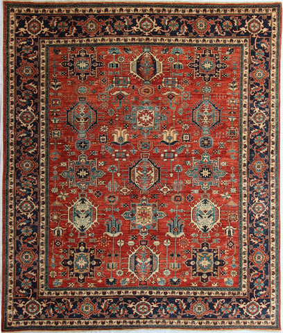 "New Pakistan Hand-Knotted Antique Recreation of a Persian Karajeh Design   8'2""X 9'9"""