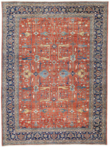 "New Pakistan Hand-Knotted Antique Recreation of 19th Century Persian Heriz    10""x 13'8"""