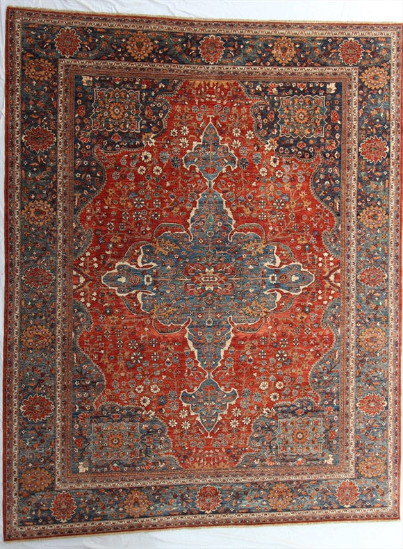 New Pakistan Hand-Knotted Antique Recreation of a 19th Century Persian Ferahan   9'3