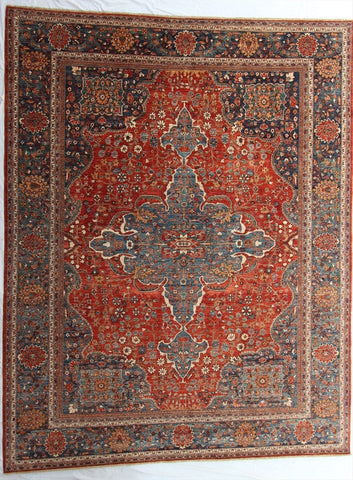 "New Pakistan Hand-Knotted Antique Recreation of a 19th Century Persian Ferahan   9'3""x 11'8"""