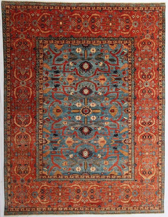 New Pakistan Hand-Knotted Antique Recreation of a Persian Sultanabad Design   9'x 11'9