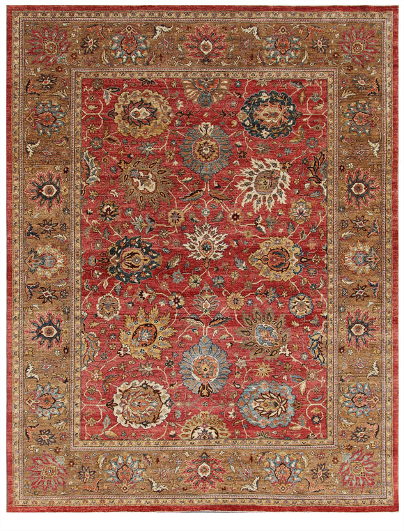 New Pakistan Hand-Knotted Antique Recreation Of 19th Century Persian Sultanabad  9'x 11'7
