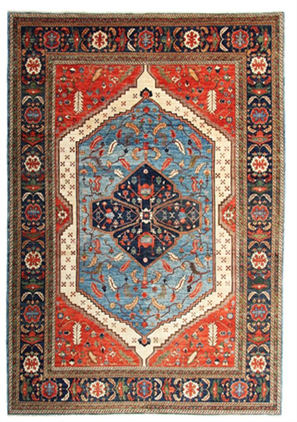 New Pakistan Hand-Knotted Antique Recreation of 19th Century Persian Rug   9'1