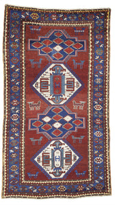 "Antique Caucasian Kazak Tribal Rug    4'10""x 8'6"""