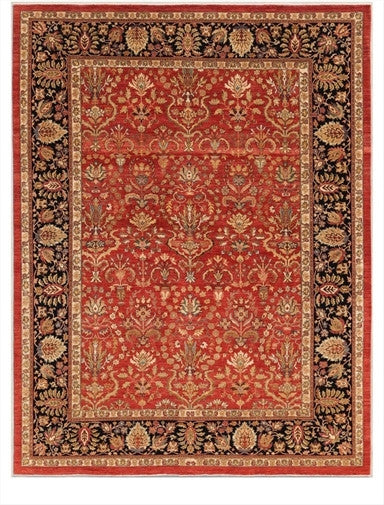 New Pakistan Hand-woven Antique Reproduction of a 19th Century Persian Carpet  9'4