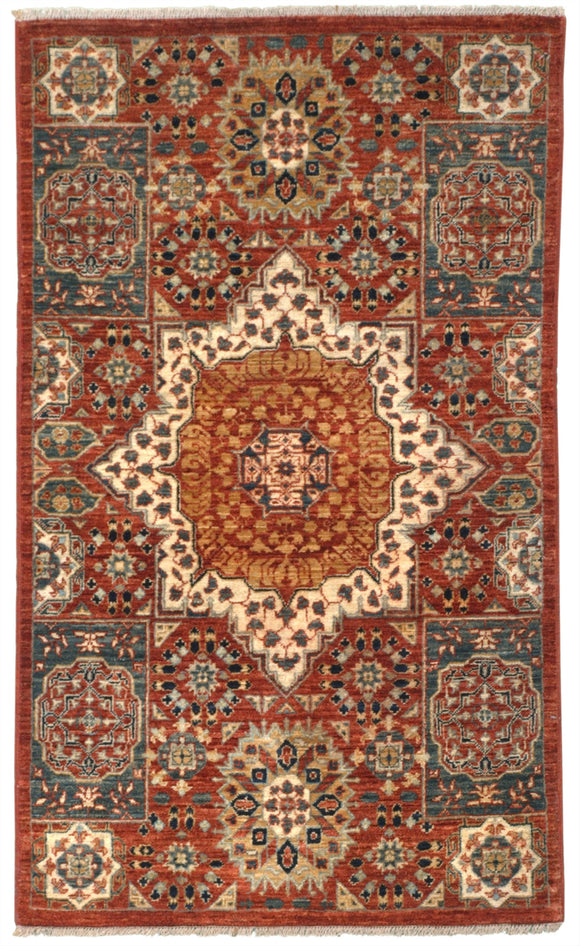 New Pakistan Hand-Knotted Antique Recreation of an Egyptian Mamluk Carpet      SOLD