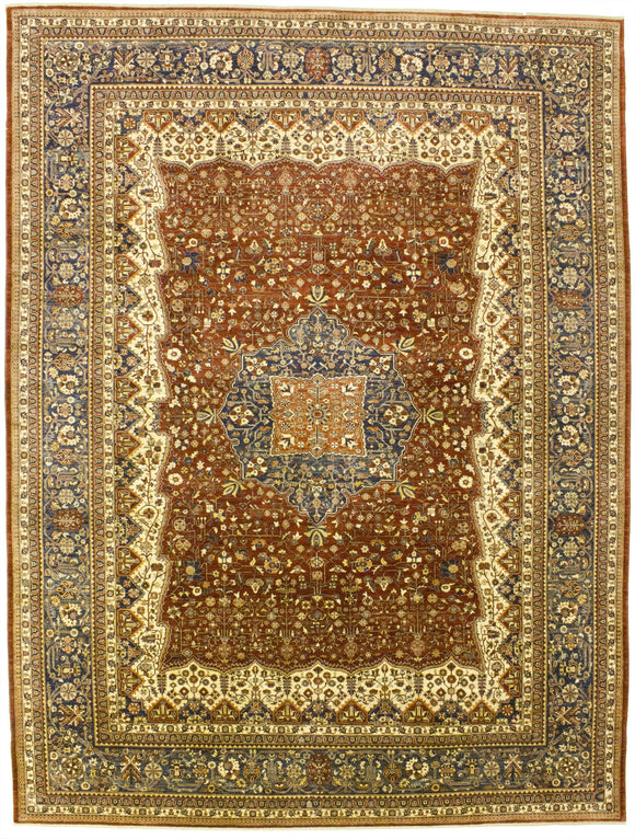 New Pakistan Hand-woven Antique Reproduction of a 19th Century Persian Ferahan   9'11