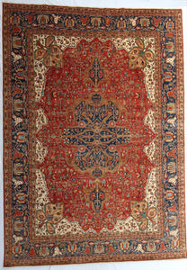 New Pakistan Hand-Knotted Antique Recreation of 19th Century Persian Ferahan  9'x 12'7""