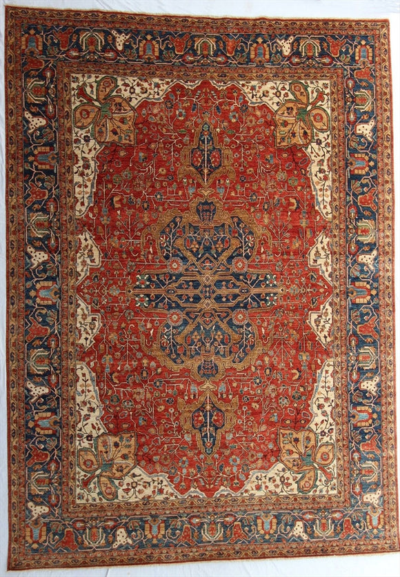 New Pakistan Hand-Knotted Antique Recreation of 19th Century Persian Ferahan  9'x 12'7