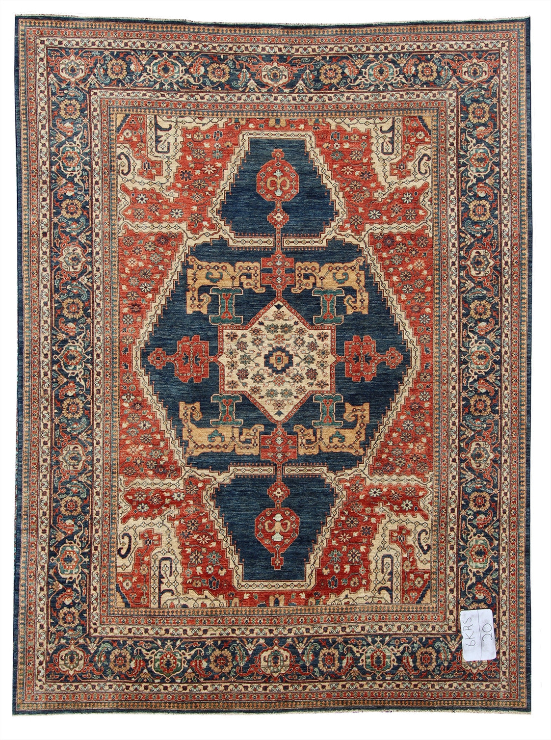 "New Pakistan Hand-woven Antique Reproduction of a 19th Century Persian Serapi Carpet  10'1""x 13'8"""