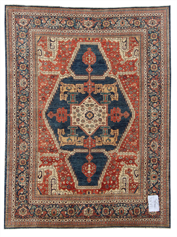 New Pakistan Hand-woven Antique Reproduction of a 19th Century Persian Serapi Carpet  10'1