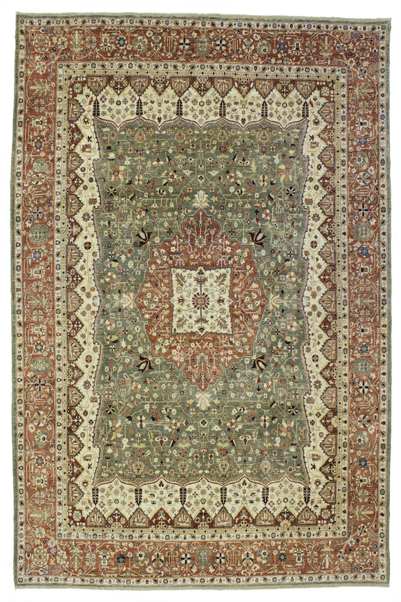 New Pakistan Hand-woven Antique Reproduction of a 19th Century Persian Ferahan   9'x 11'5