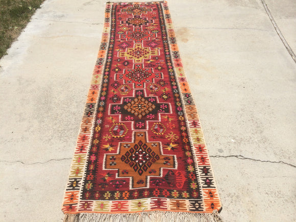 Vintage Turkish Kilim Runner  12'5