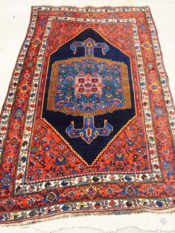 Antique Persian Bijar Village Rug                  4'5