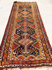 "Antique Persian Tribal Luri Runner Dated 1916          4'6""x 11'5"""