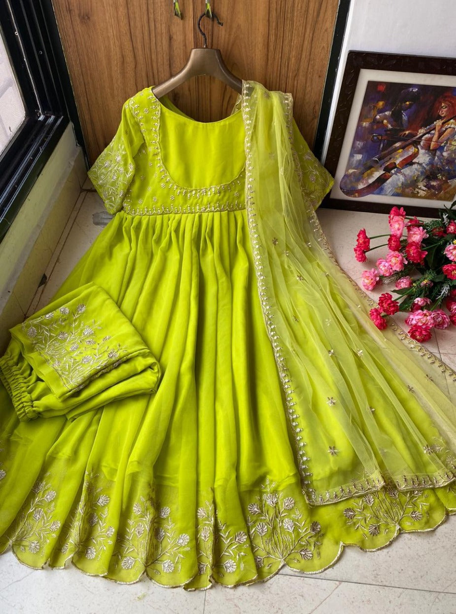 Parrot Green Color Party Wear Gown