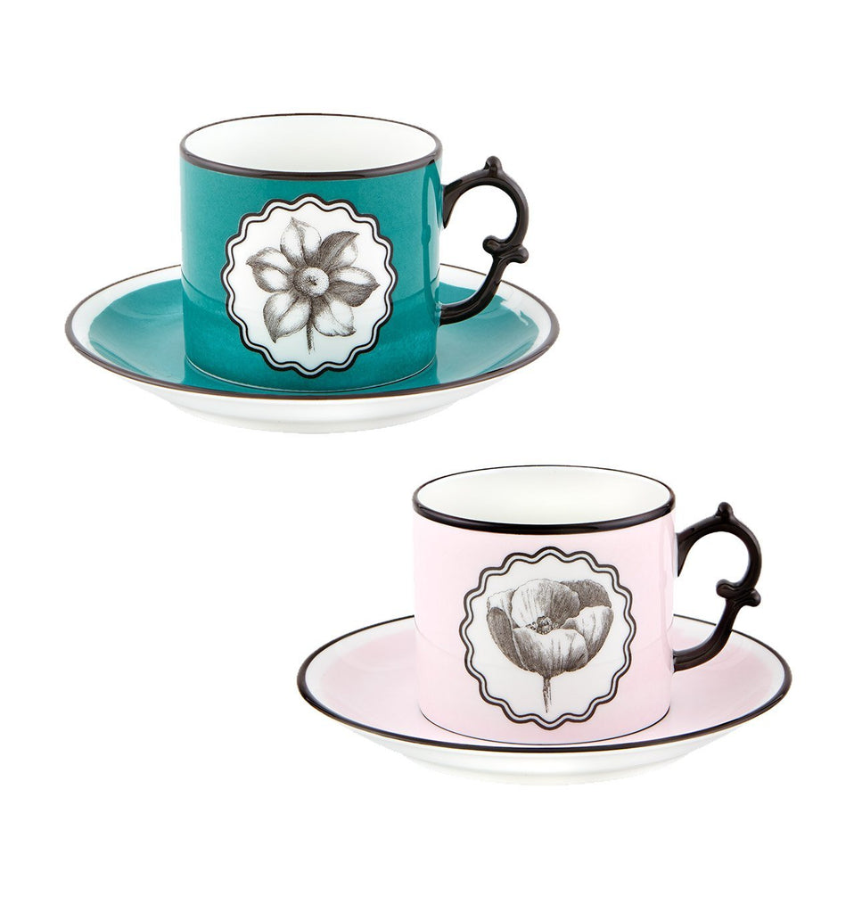 Herbariae - Set 2 Tea Cups And Saucer Pink And Peacock