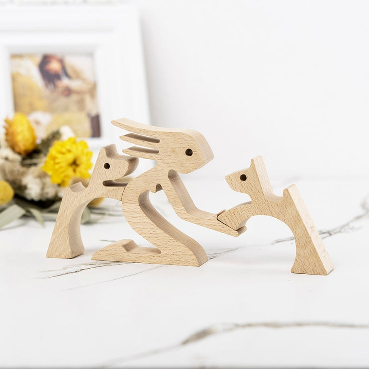 Sculpture en bois affection humain-animal