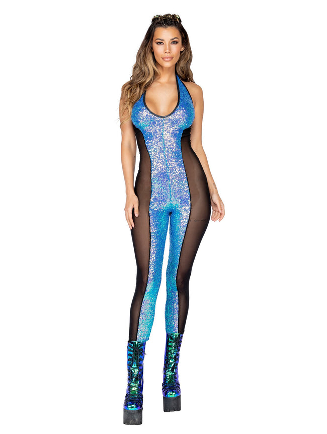 Haltered Catsuit with Mesh and Sequin Detail - Small / Black
