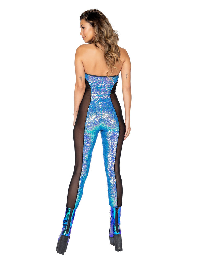 Haltered Catsuit with Mesh and Sequin Detail