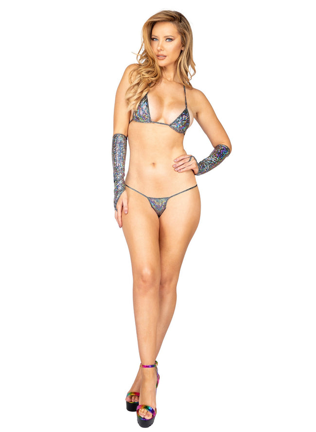 Iridescent Shimmer Micro Bottoms - One Size / Silver