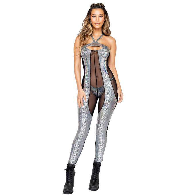 Two-Tone Sheer & Snakeskin Catsuit - Small / Black/Silver