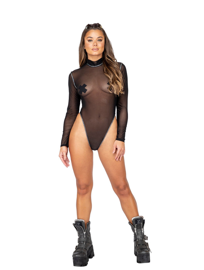 Long Sleeved Sheer Romper - Small / Black