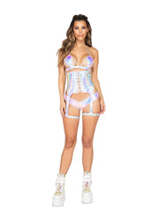 Lace-Up Waist Cincher with Attached Garters - Small / Pink