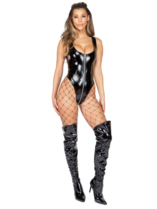 Latex Romper with Zipper Closure - Small / Black